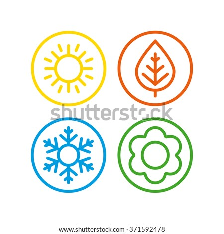 A set of colorful icons of seasons. The seasons - winter, spring, summer and autumn. Royalty-Free Stock Photo #371592478