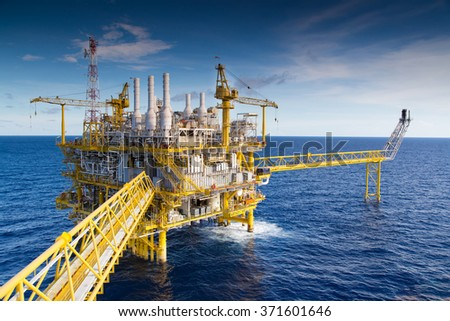 Oil and Gas processing platform that produce natural gas and condensate. #371601646