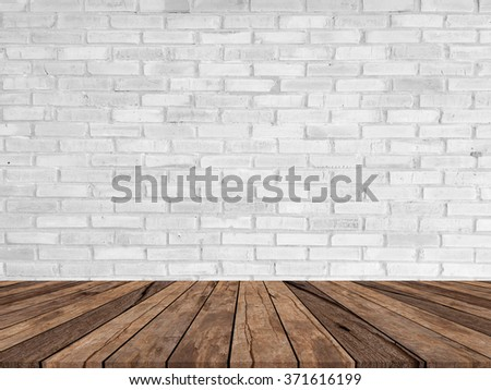 gray brick stone cement wall background textured with aged wood perspective for   advertisement and promote products on this display #371616199