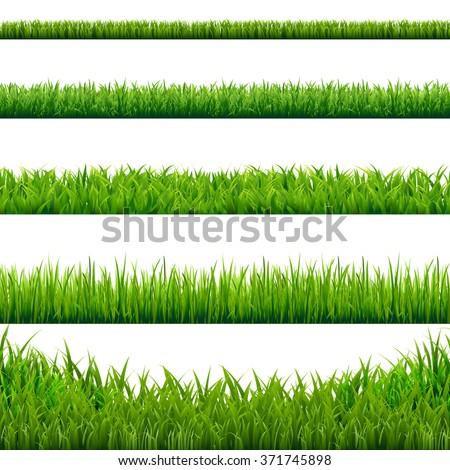 Big Grass Borders Set, Vector Illustration Royalty-Free Stock Photo #371745898
