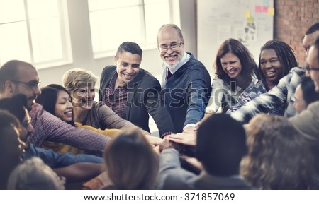 Team Teamwork Join Hands Partnership Concept Royalty-Free Stock Photo #371857069