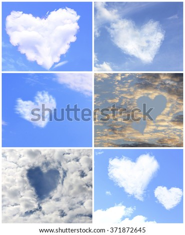 Collage of clouds in heart shaped #371872645