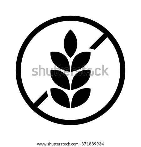 gluten free food allergy product dietary label flat vector icon for apps and websites Royalty-Free Stock Photo #371889934