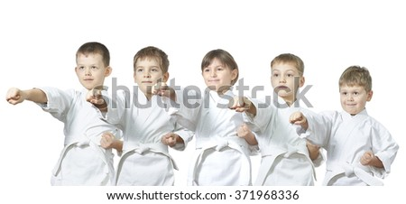 Five small athletes are hitting punch #371968336