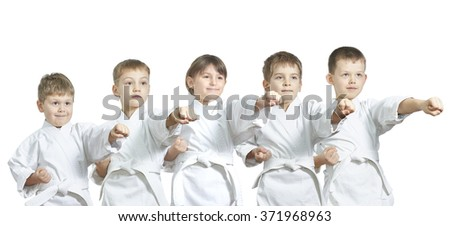 Athletes hit a punch on a white background #371968963