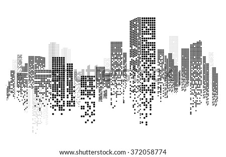 Building and City Illustration, City scene on night time Royalty-Free Stock Photo #372058774