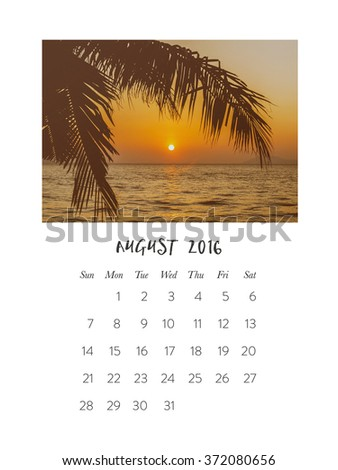 Photo calendar 2016, august, palm tree and sunset on the sea