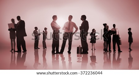 Silhouette Business People Discussion Communication Meeting Concept #372236044
