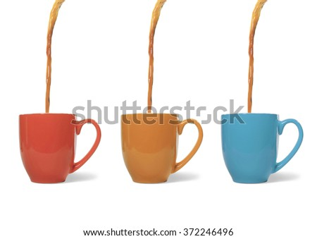 Coffee Poured into Three Mugs #372246496