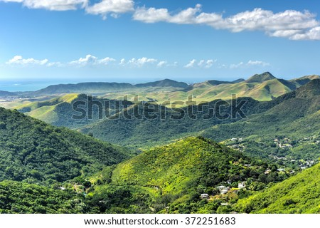 Landscape view of Salinas in Puerto Rico. Royalty-Free Stock Photo #372251683