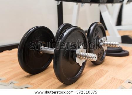 Fitness club weight training equipment gym modern interior #372310375