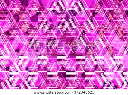 Colorful mosaic illustration created with lines, triangles and squares. Decorative festive composition. #372348625