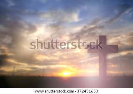 Silhouette jesus christ crucifixion on cross calvary sunset background concept for seventh day adventist church, happy he is risen in easter day, good friday Jesus death on crucified, christian praise