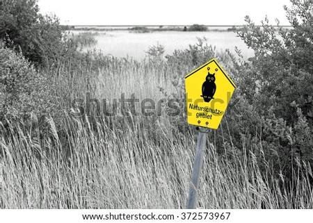"""Nature reserve sign in Germany, symbolic picture; German text """"Naturschutzgebiet"""", translate """"Nature reserve"""""""