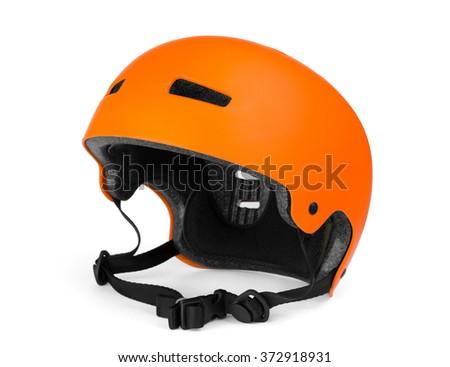 Bicycle helmet on white  Royalty-Free Stock Photo #372918931