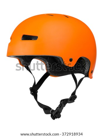 Bicycle helmet on white Royalty-Free Stock Photo #372918934