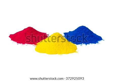 CMYK colour toner for printer cyan magenta yellow isolated on white background #372925093