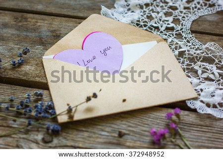 letter with a declaration of love. the concept of Valentine's Day, wedding #372948952