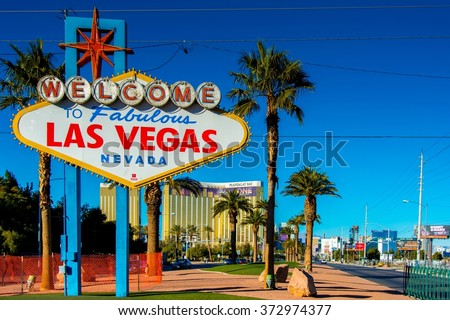Famous Las Vegas sign on bright sunny day #372974377