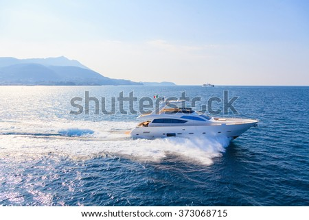 luxury motoryacht in navigation #373068715