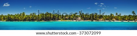 Panoramic view of Exotic Palm trees and lagoon on the tropical Island beach Royalty-Free Stock Photo #373072099