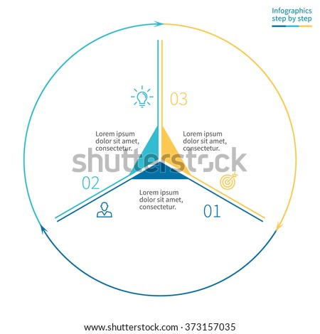 Outline infographics with triangle in center. Linear pie chart, diagram, scheme, graph with 3 steps, options, parts, processes with arrows. Vector thin line design element. #373157035