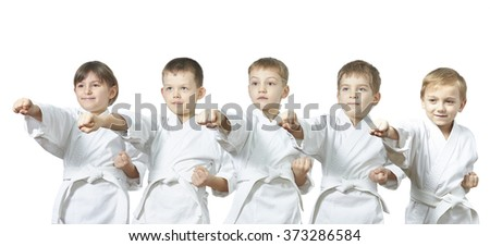 Five young athletes are hitting punch #373286584