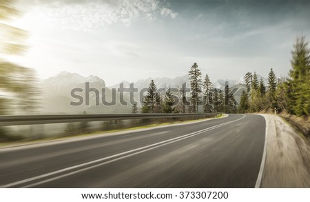 Mountain road at hight speed drive downhill #373307200