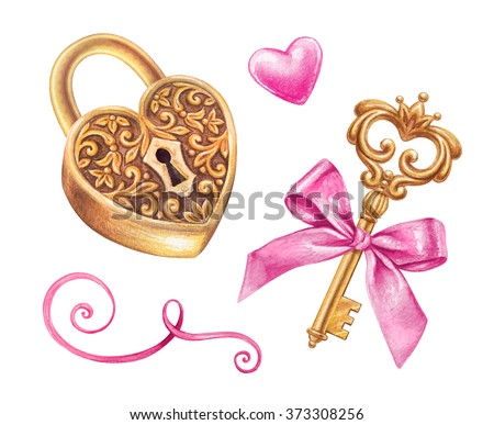 gold key and heart shaped lock design elements set, watercolor illustration isolated on white background, hand painted Valentines day clip art