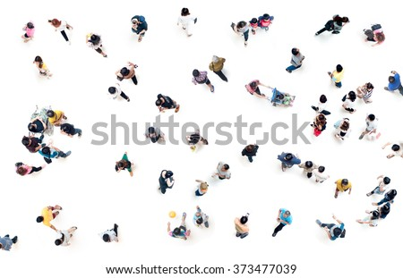 Crowd of people blurred on white background from top view ,bird eye view #373477039