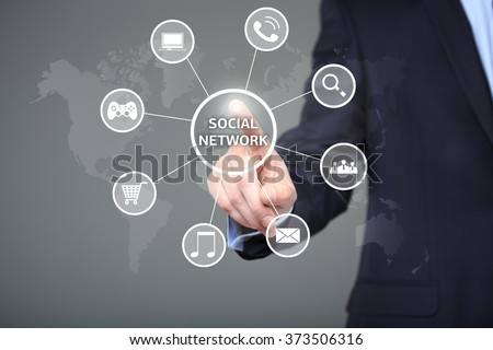 business, technology, internet and networking concept - businessman pressing button with Social Network on virtual screens.  #373506316