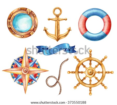 nautical elements, rigging symbols, compass, anchor, ribbon tag, steering-wheel, porthole, life buoy, watercolor illustration, isolated on white background
