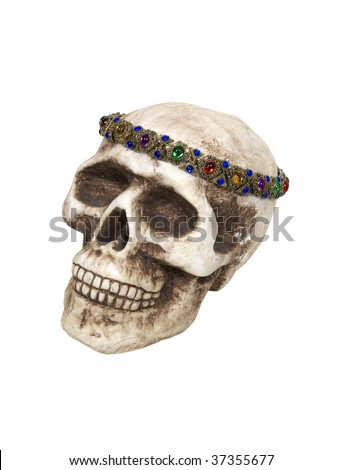 Skull wearing an antique gold gemmed crown - path included #37355677