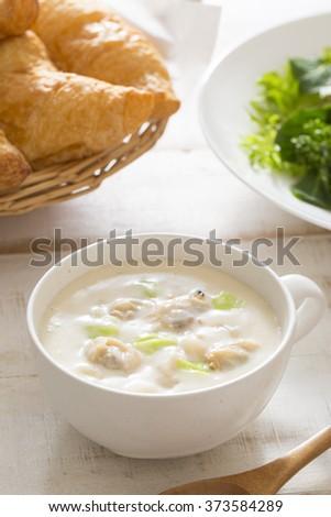 Breakfast of clam chowder #373584289