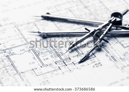 Architectural blueprints Royalty-Free Stock Photo #373686586