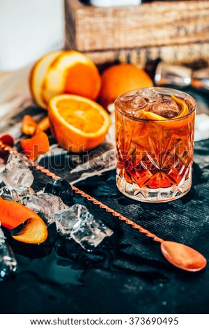 View of Old Fashioned cocktail Royalty-Free Stock Photo #373690495
