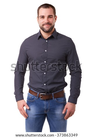 Portrait of young man in black shirt on white background #373863349