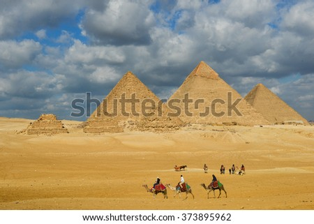 Giza Pyramids - Cairo, Egypt #373895962