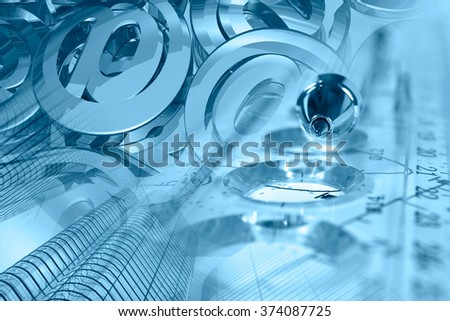 Financial background in blues with buildings, mail signs, graph and pen. #374087725