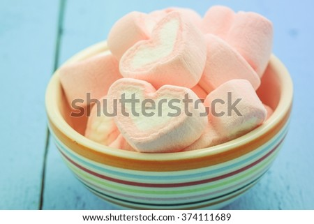 Pink heart shape of marshmallow with filter effect retro vintage style #374111689