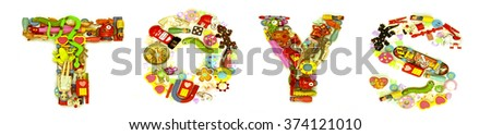The word  play made from lots of small toys  #374121010