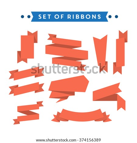 Flat style ribbon collection #374156389
