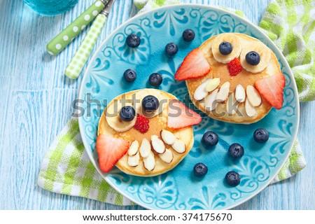 Owl pancakes for kids breakfast #374175670