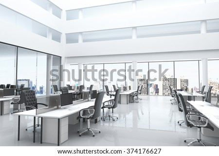 Modern office with open space and large windows 3D Render #374176627