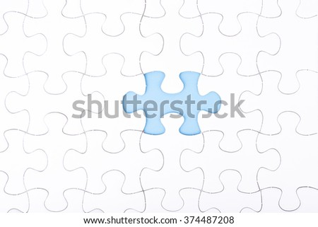 missing a piece of puzzle, blue space concept  #374487208
