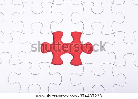 missing a piece of puzzle, red space concept #374487223