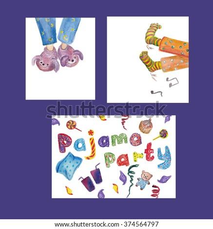 Slumber Party Invitation card  set - boy having pajama - Pajama party text - hand made  watercolor  illustration