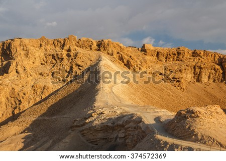 Ruins of the ancient Masada castle, Israel #374572369