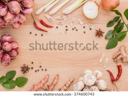 To prepare spices to cook spicy Thailand rests on a wooden floor. #374600743