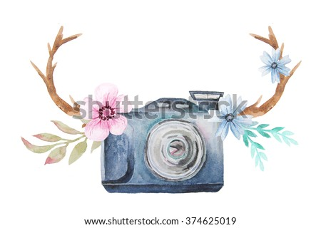 Set of watercolor photo camera with flowers, branches and antlers in rustic boho style. Hand painted photo clip art perfect for logo design and DIY project.